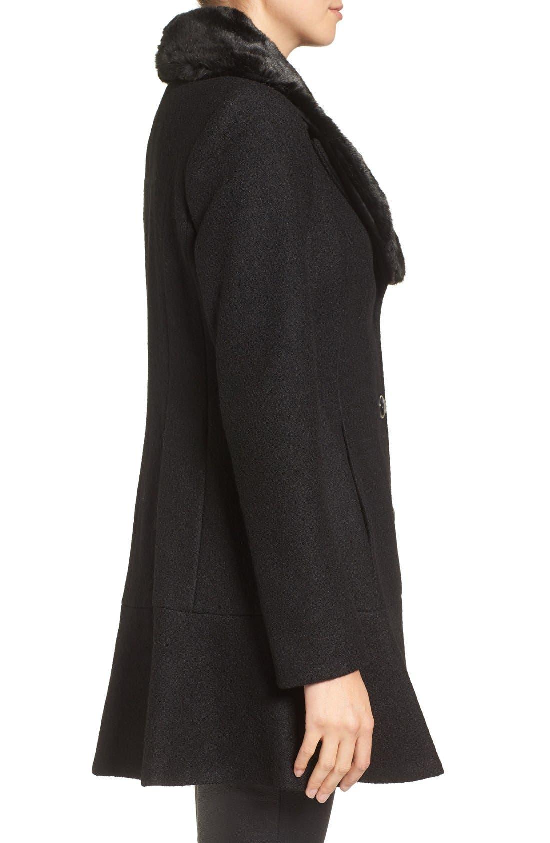 Alternate Image 3  - kensie Removable Faux Fur Collar Skirted Coat