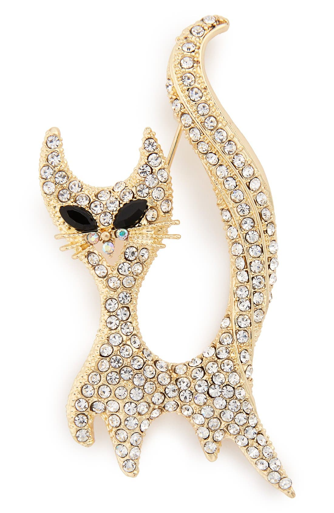 Main Image - Cara Crystal Cat Brooch