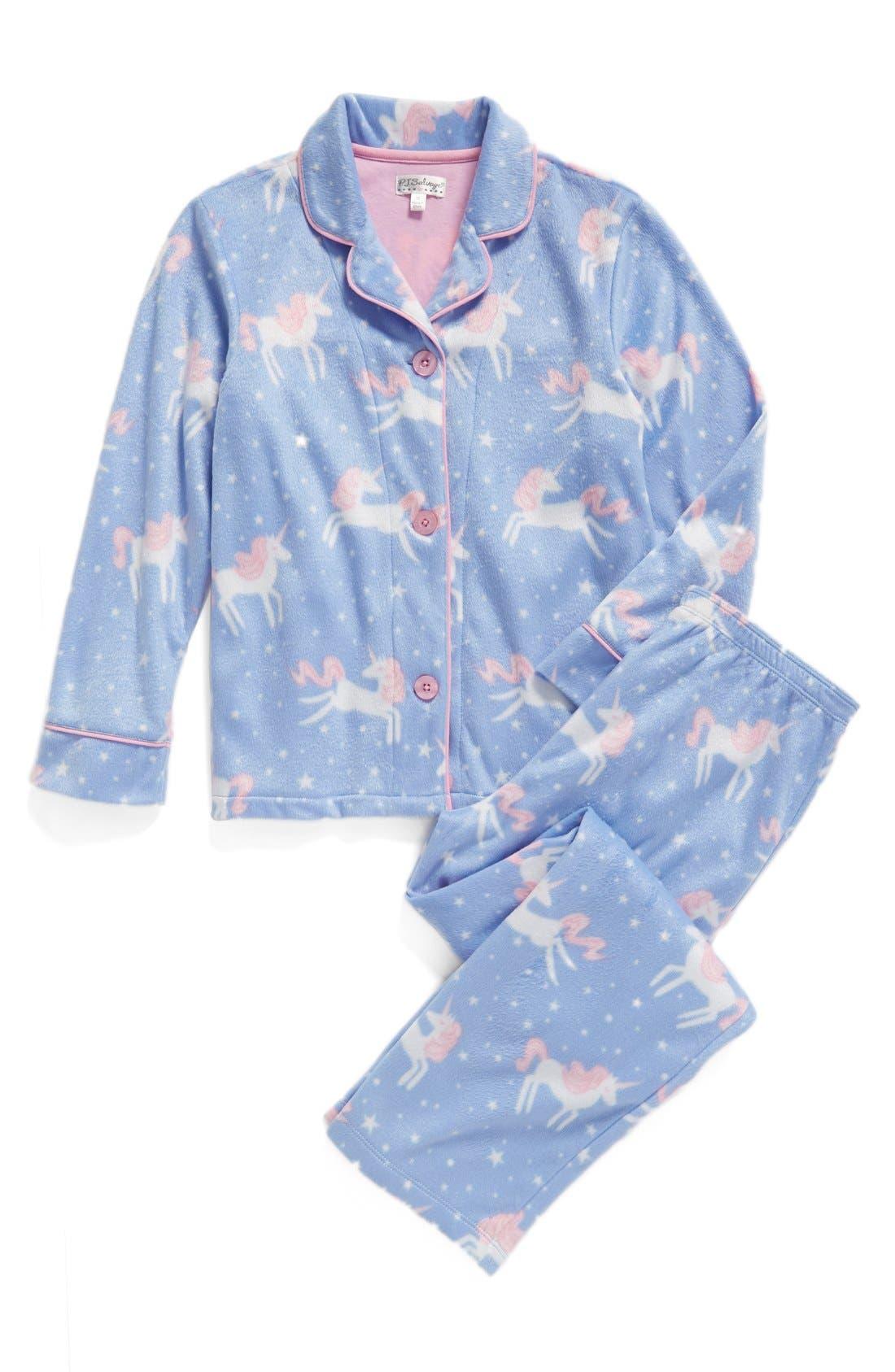 Main Image - PJ Salvage Unicorn Two-Piece Pajamas (Little Girls & Big Girls)