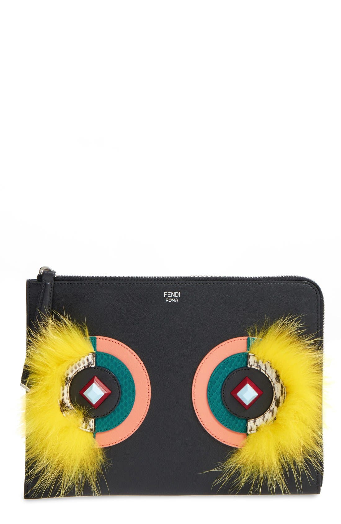 FENDI 'Dolce Monster' Calfskin Leather, Genuine Snakeskin &