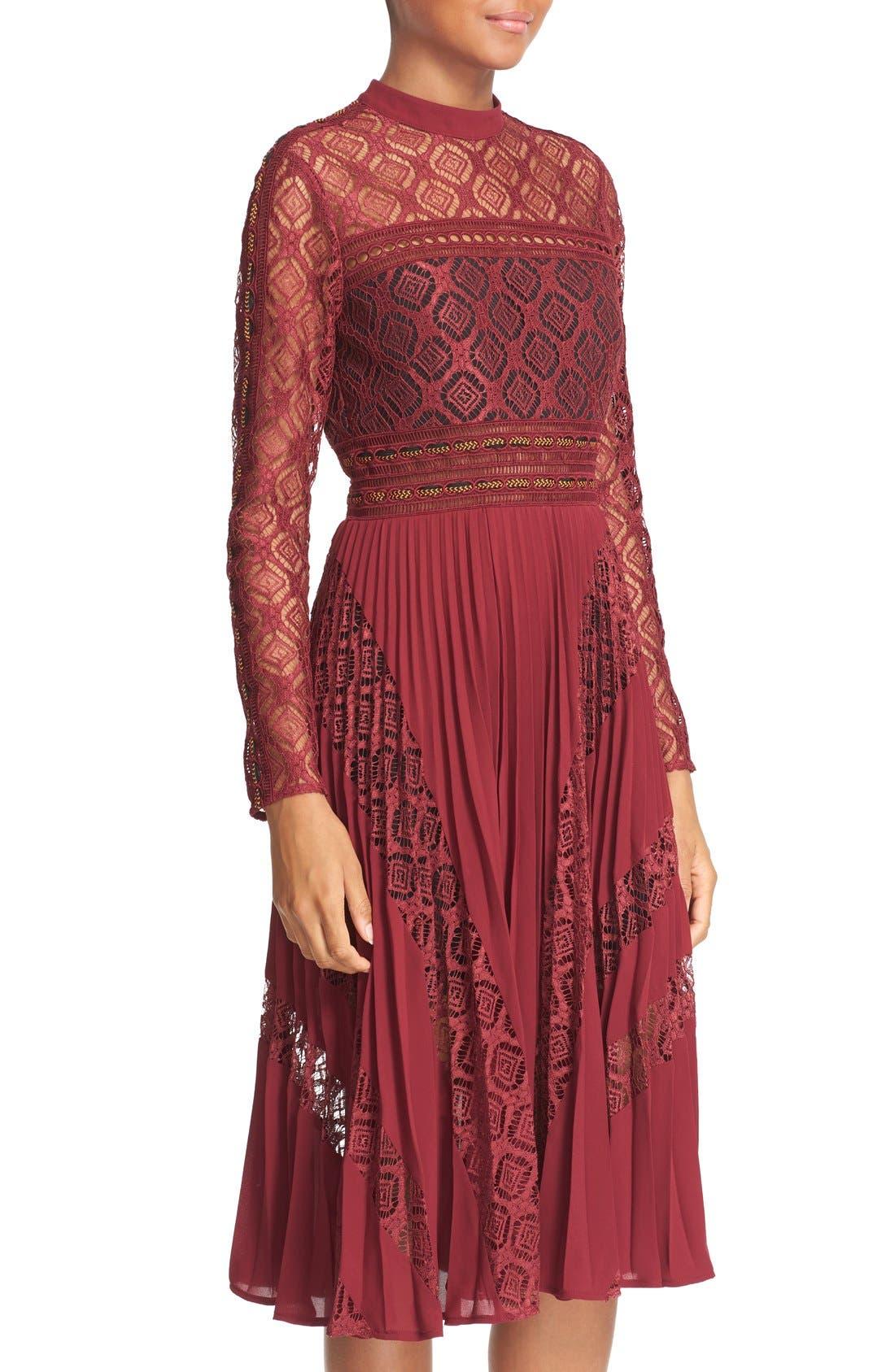 Alternate Image 5  - Self-Portrait Symm Lace & Chiffon Midi Dress