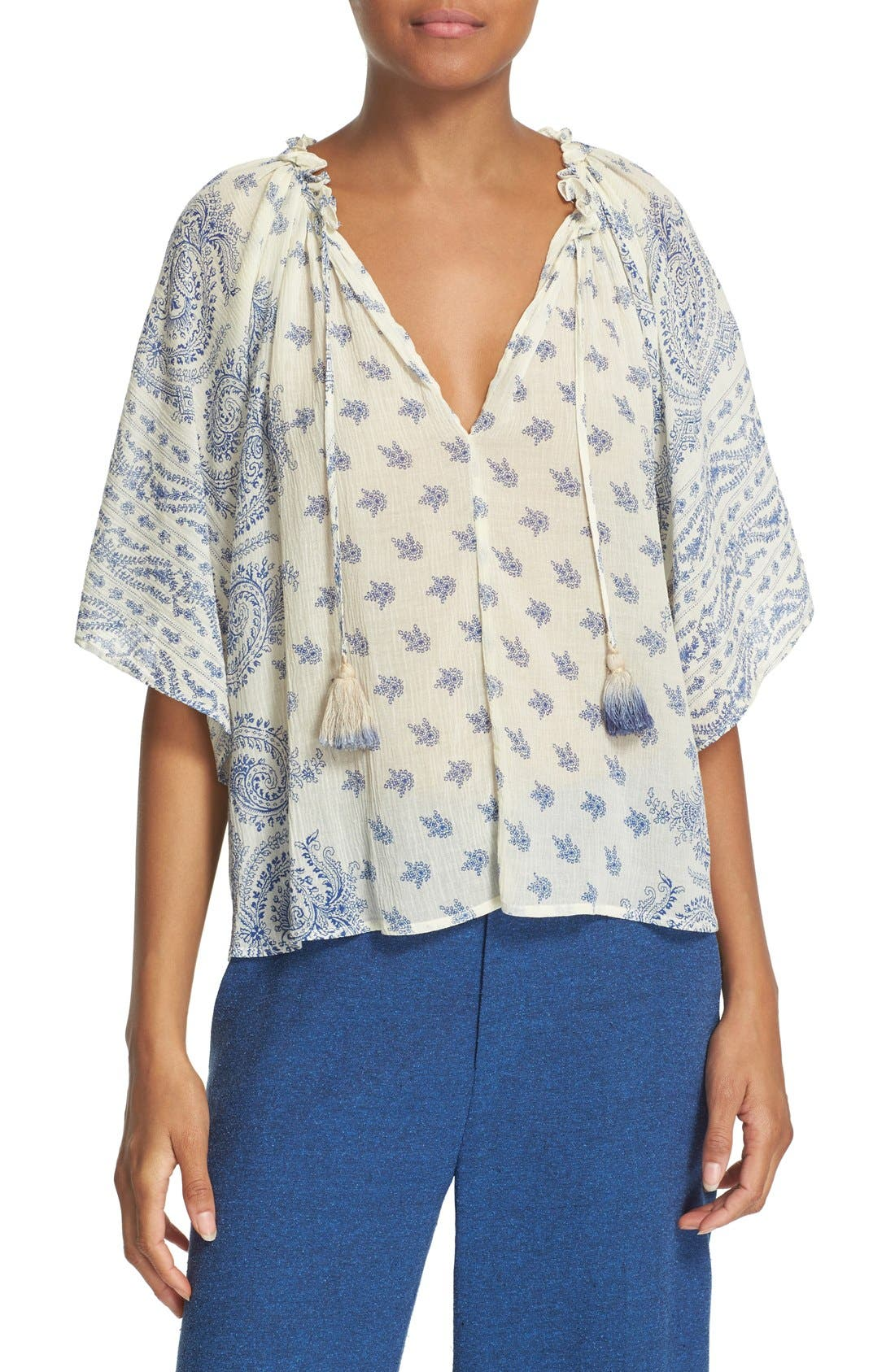 SEA Paisley Print Cotton & Silk Peasant Top