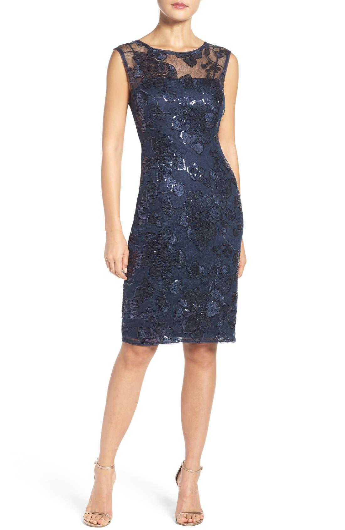 Main Image - Adrianna Papell Embellished Lace Sheath Dress