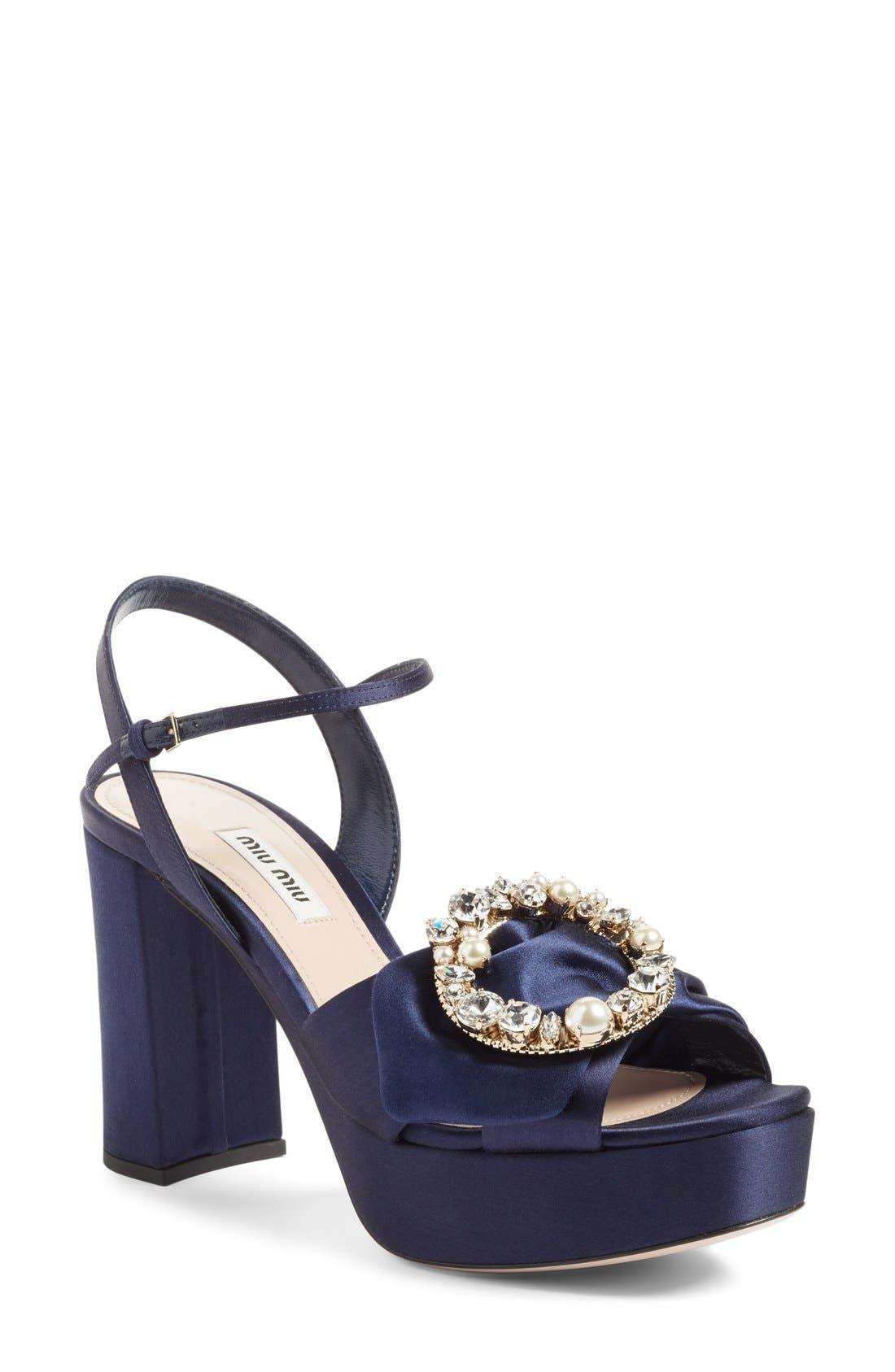 Main Image - Miu Miu Embellished Buckle Platform Sandal (Women)