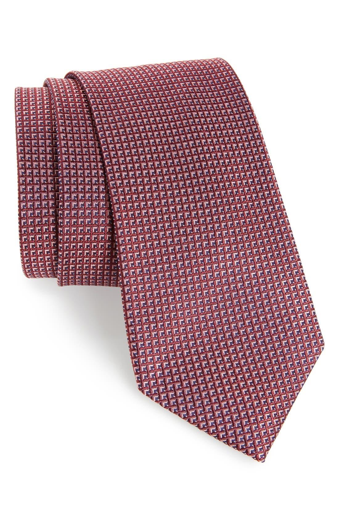 Calibrate Grid Woven Silk Tie