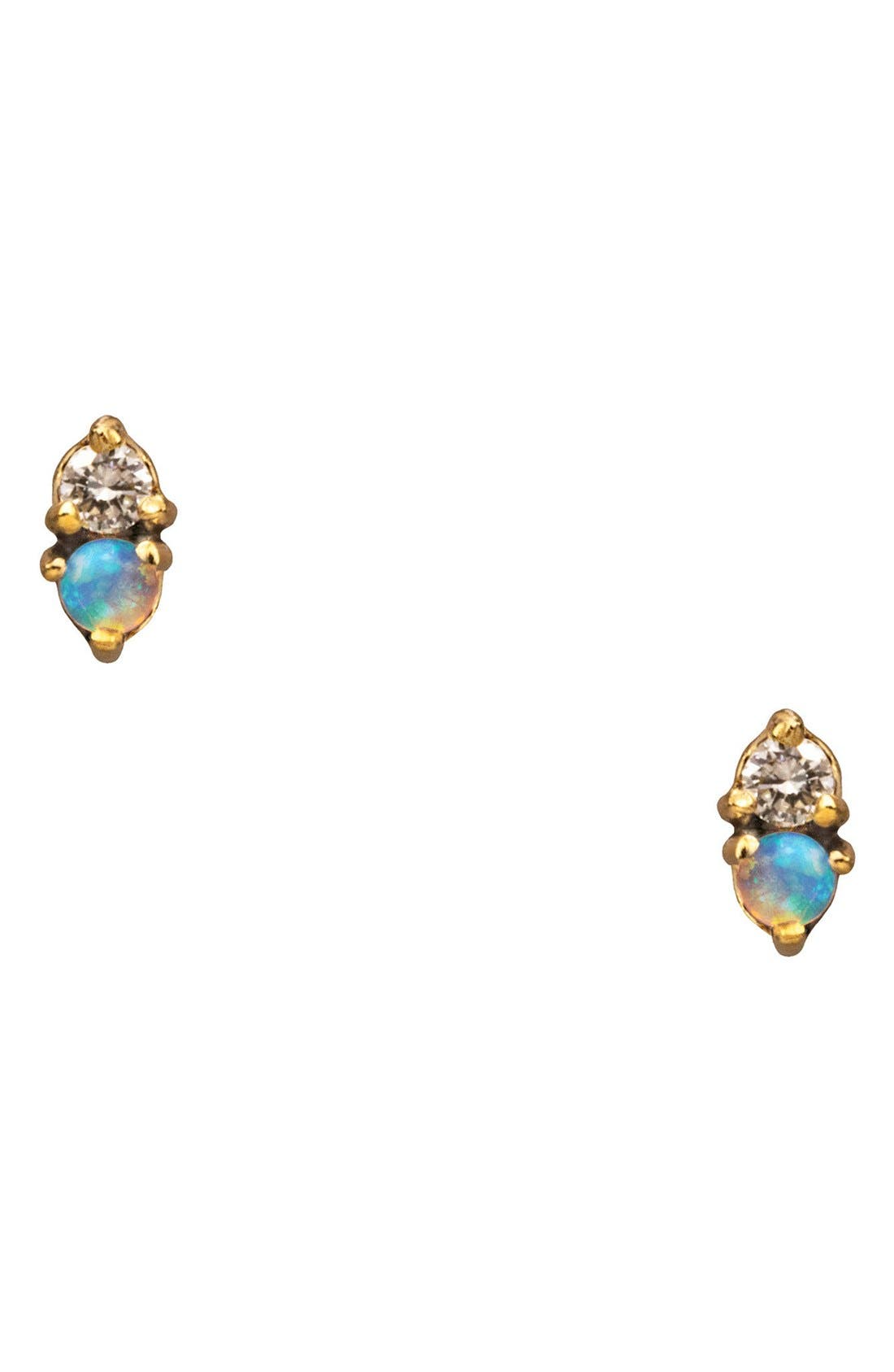 WWAKE Counting Collection Two Step Opal & Diamond Stud Earrings
