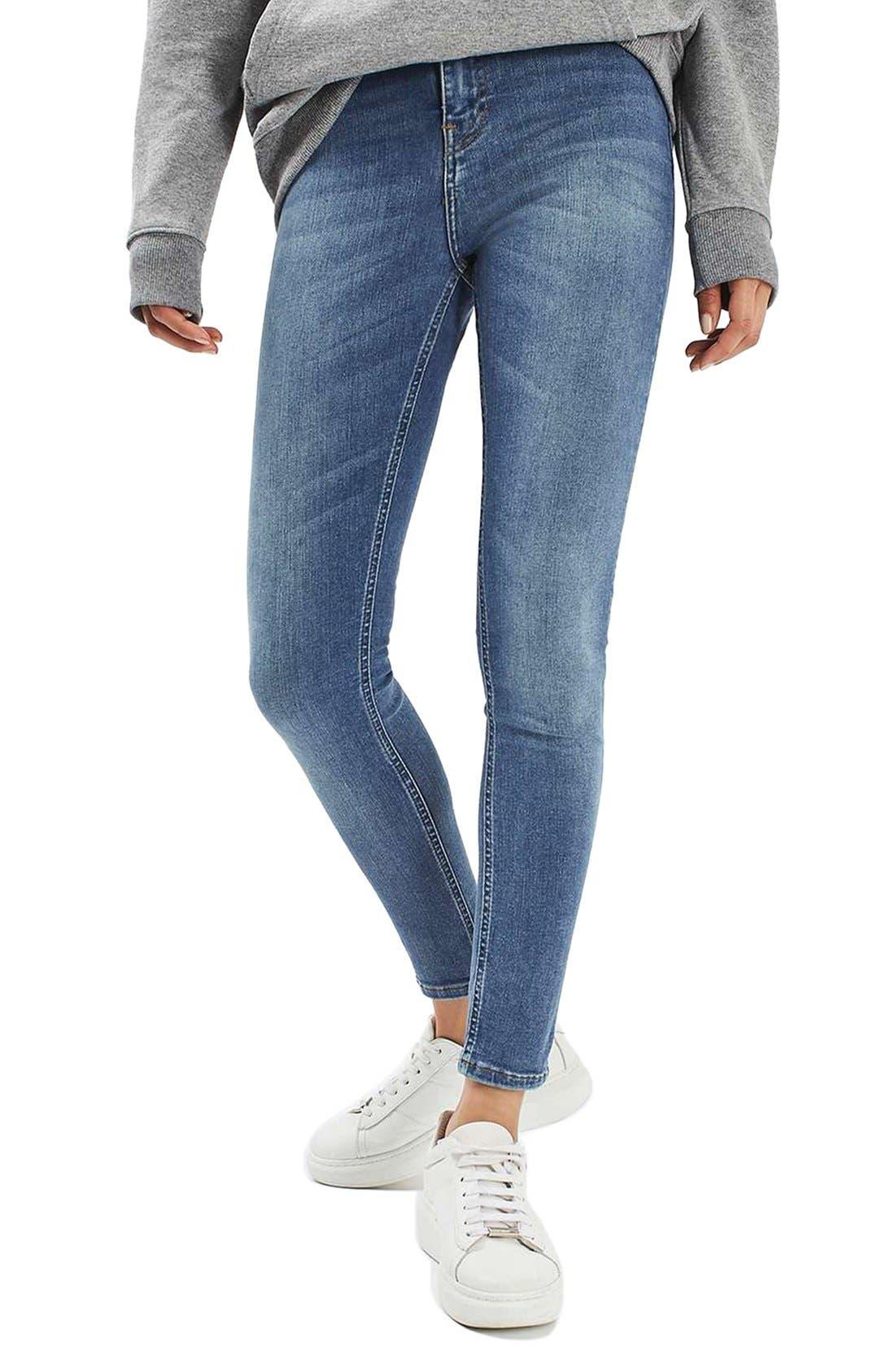 Alternate Image 1 Selected - Topshop Jamie High Waist Crop Skinny Jeans (Blue Green)
