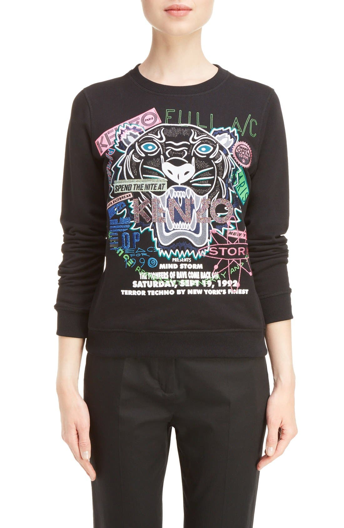 KENZO Embroidered Tiger Flyer Cotton Sweatshirt