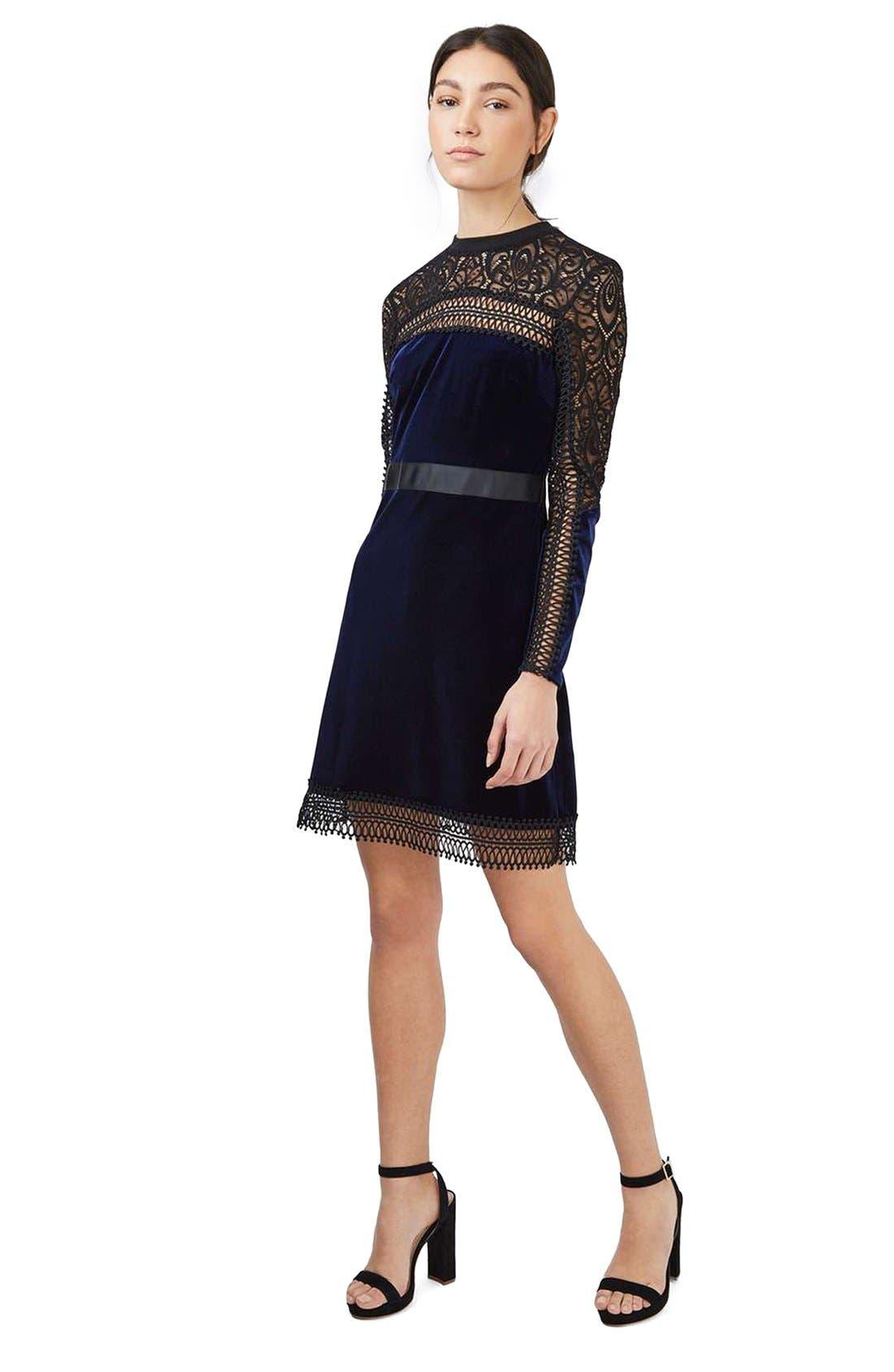 Alternate Image 2  - Topshop Lace & Velvet Dress