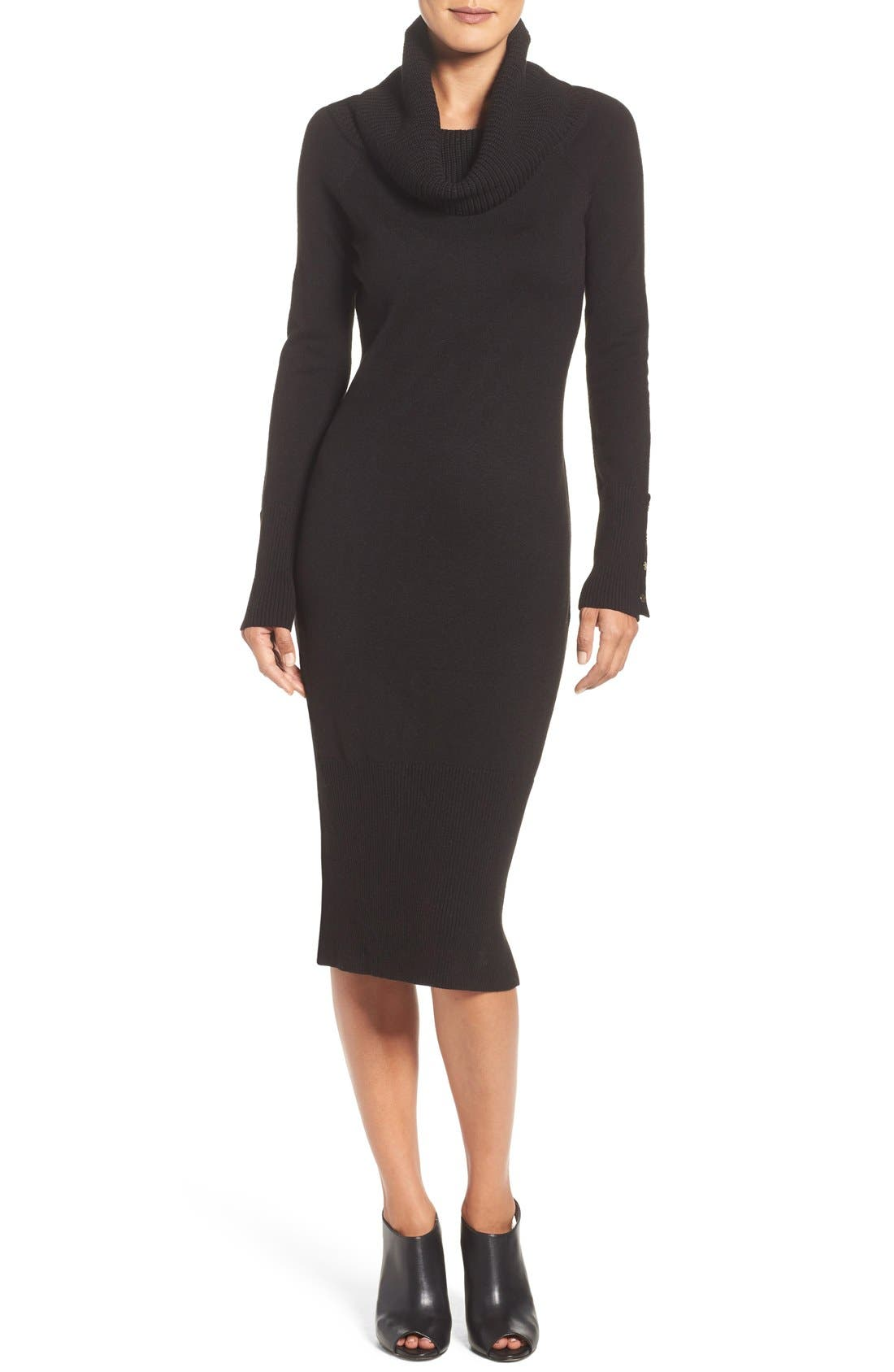 Main Image - Eliza J Cowl Neck Sweater Midi Dress