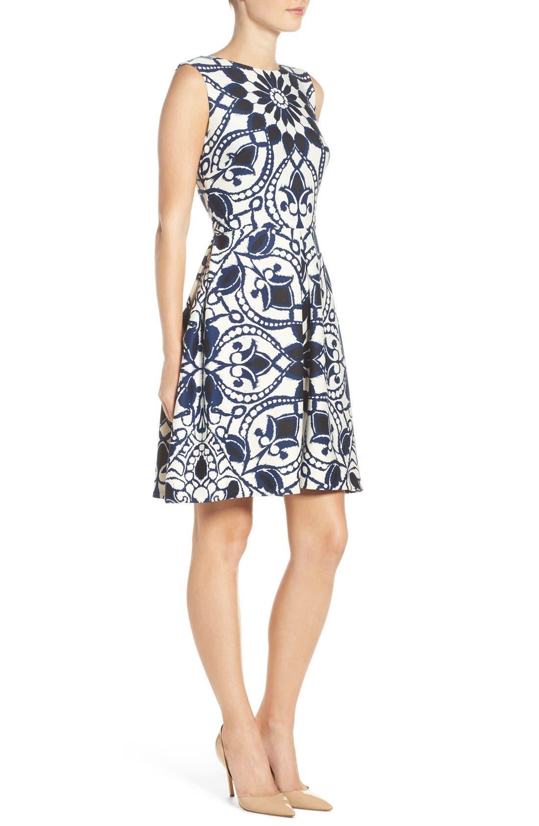 Alternate Image 3  - Taylor Dresses Mirror Print Fit & Flare Dress