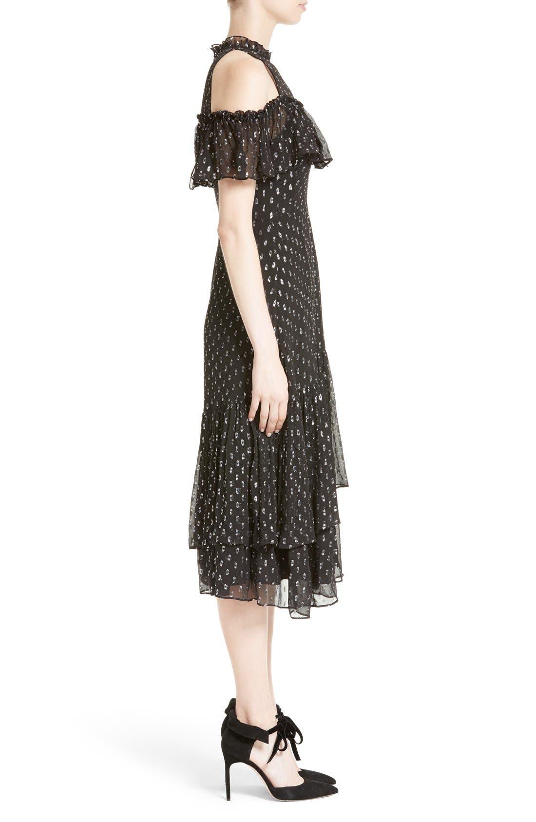 Alternate Image 3  - Rebecca Taylor Metallic Clip Midi Dress