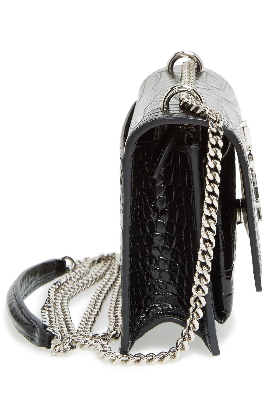 Alternate Image 5  - Saint Laurent Mini Monogram Sunset Croc Embossed Leather Shoulder Bag