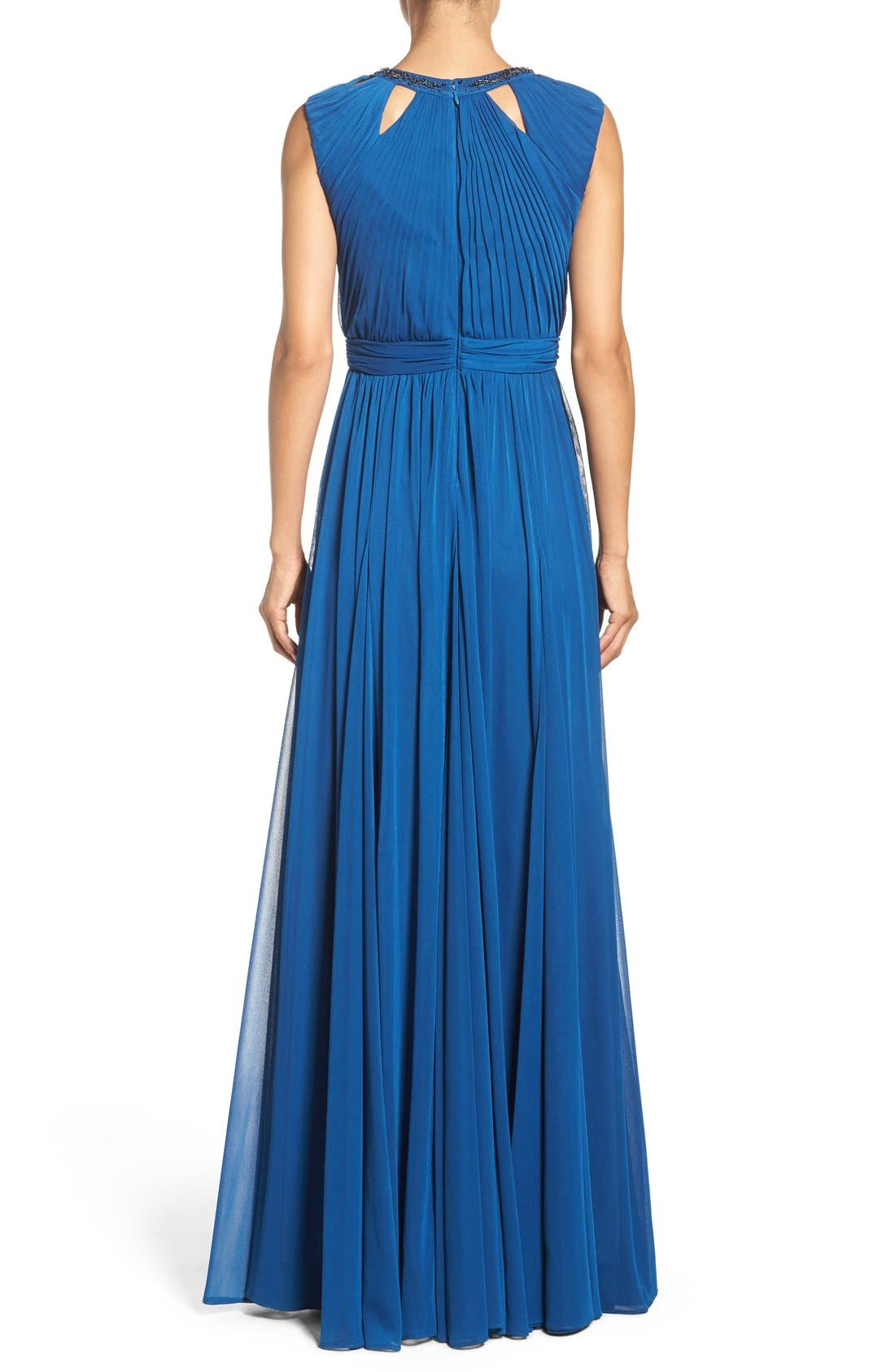 Alternate Image 2  - Adrianna Papell Embellished Collar Shirred Gown