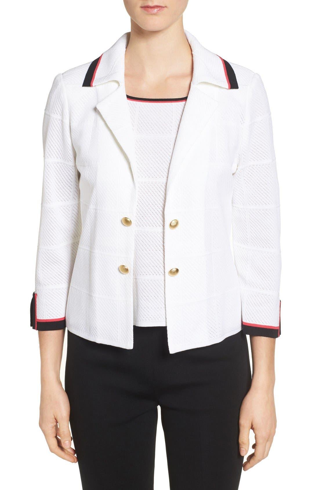 MING WANG Contrast Trim Notch Collar Jacket
