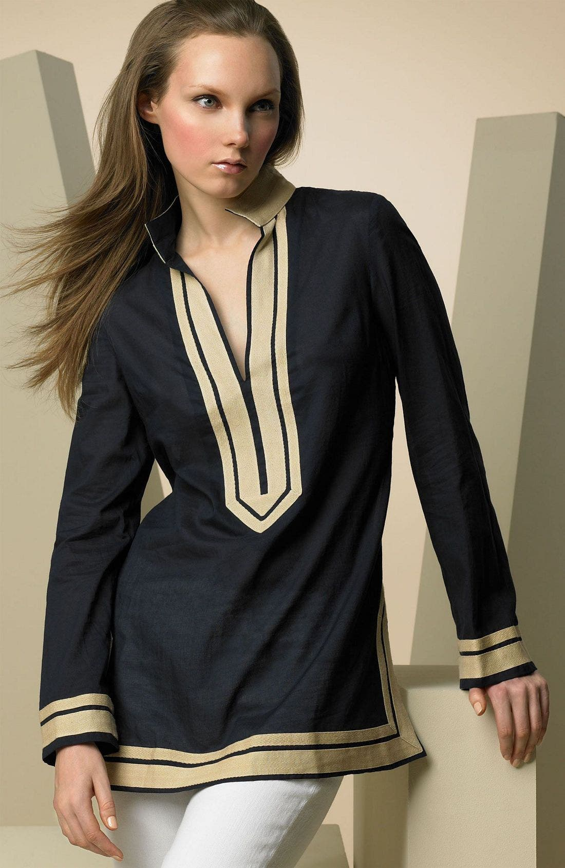 Main Image - Tory Burch 'Tory' Tunic with Khaki Border