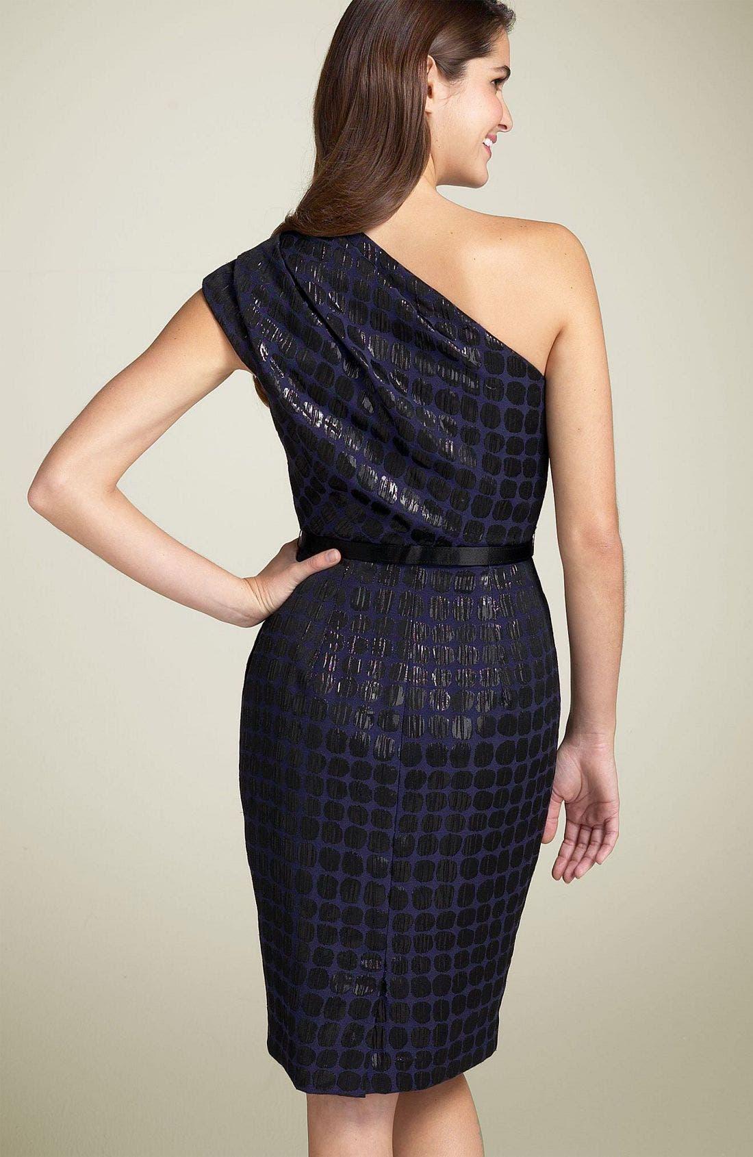 Alternate Image 2  - Maggy London Single Shoulder Jacquard Dress