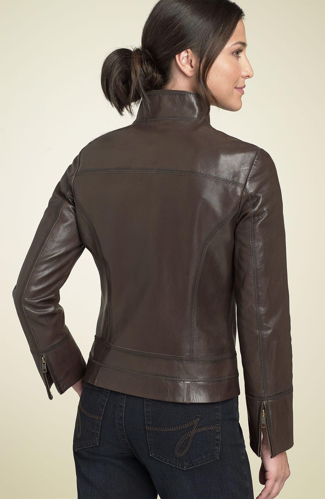 Alternate Image 2  - Caslon® Distressed Leather Jacket