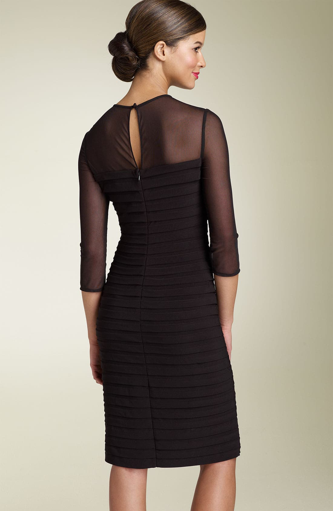 Alternate Image 2  - Adrianna Papell Illusion Yoke Pleated Dress (Regular & Petite)