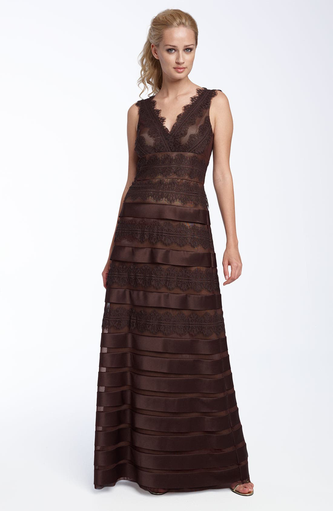 Main Image - JS Collections Satin Lace Mesh Gown