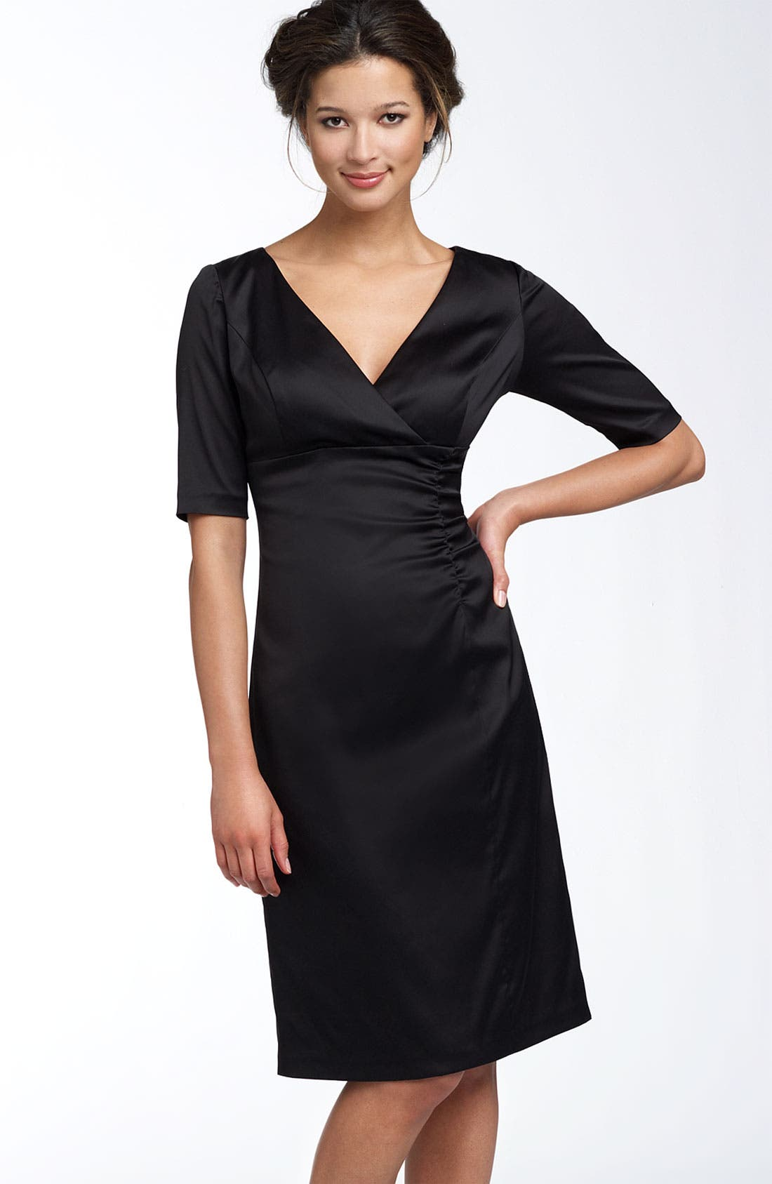 Main Image - Donna Ricco Ruched Empire Stretch Satin Dress