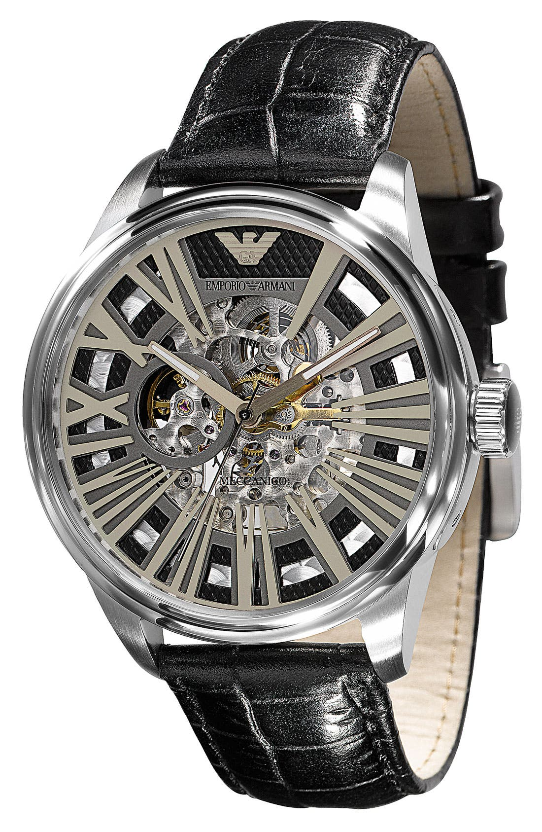 Alternate Image 1 Selected - Emporio Armani Automatic Leather Strap Watch