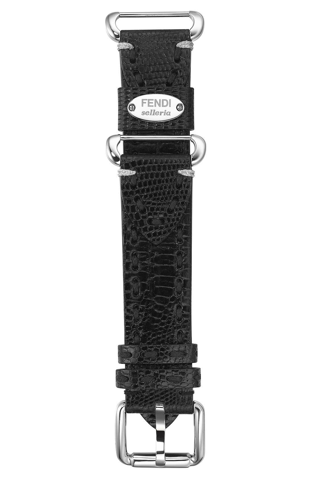 Alternate Image 1 Selected - Fendi 'Selleria' 18mm Teju Lizardskin Watch Strap