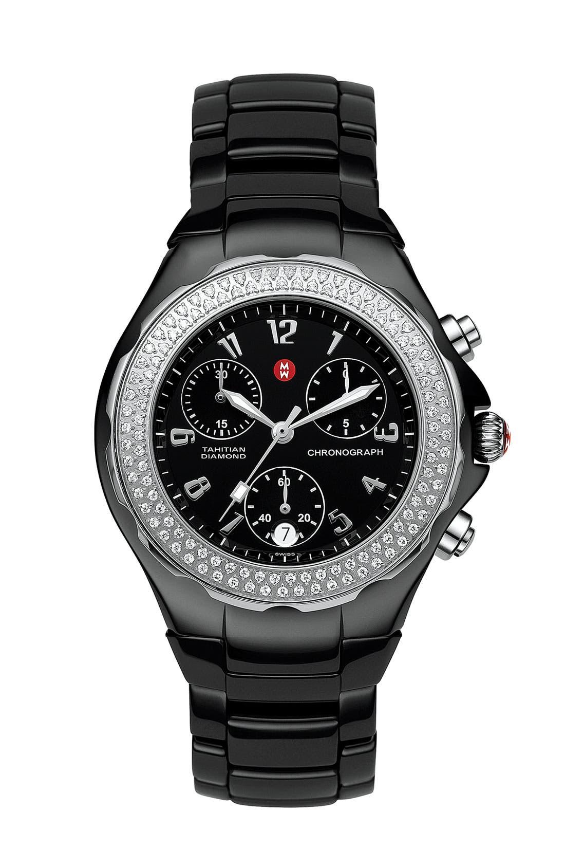 Alternate Image 1 Selected - MICHELE 'Tahitian Diamond' Ceramic Bracelet Watch, 35mm