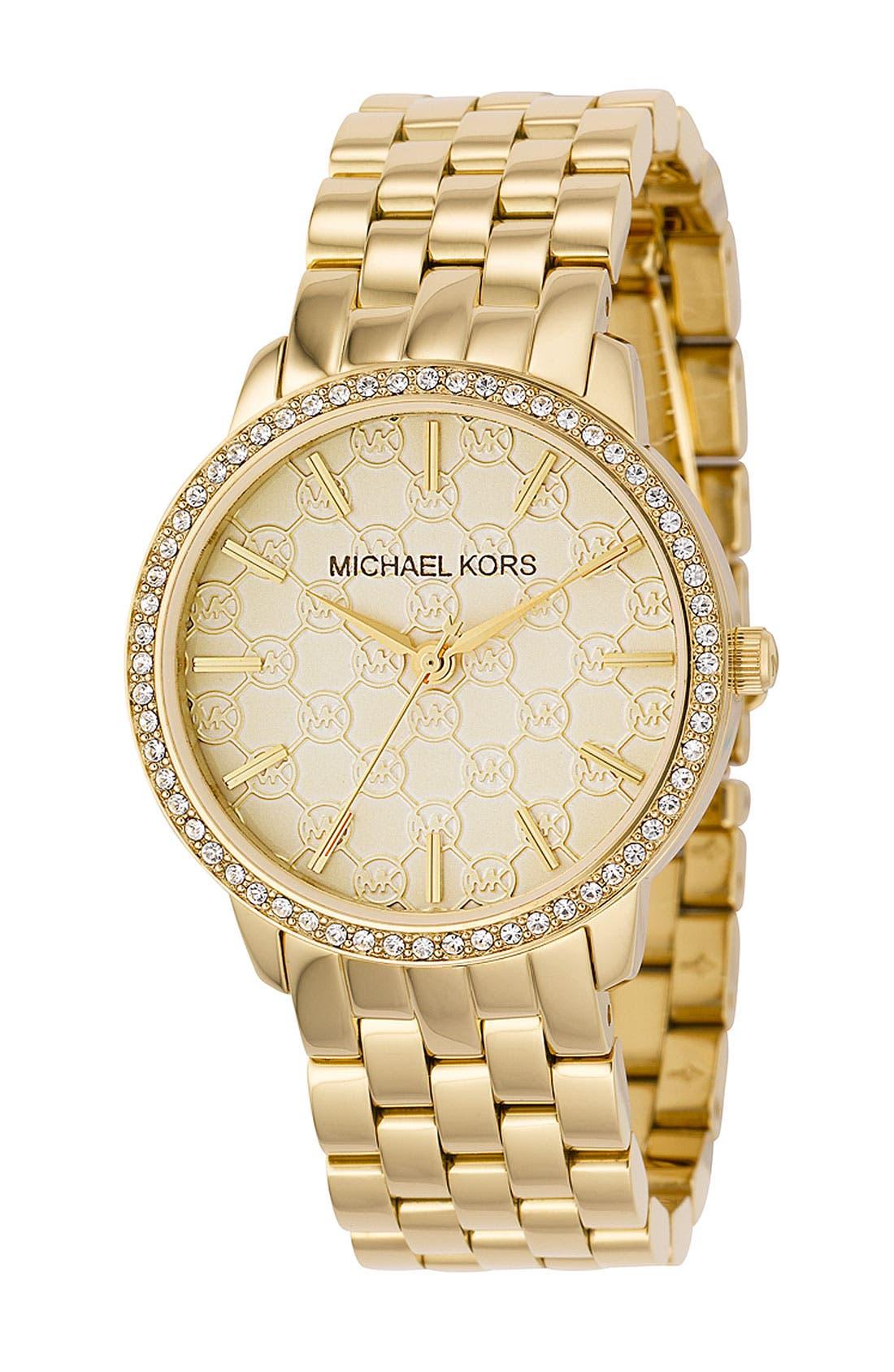Alternate Image 1 Selected - Michael Kors Crystal Rim Bracelet Watch