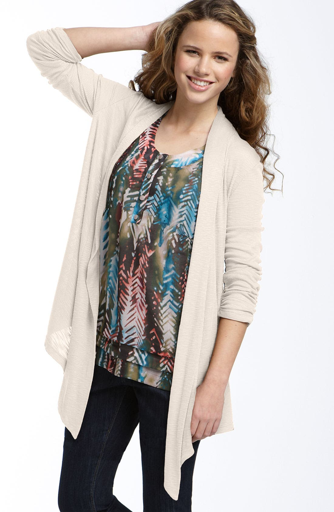 Alternate Image 1 Selected - h.i.p. Ruched Sleeve Cardigan (Juniors)