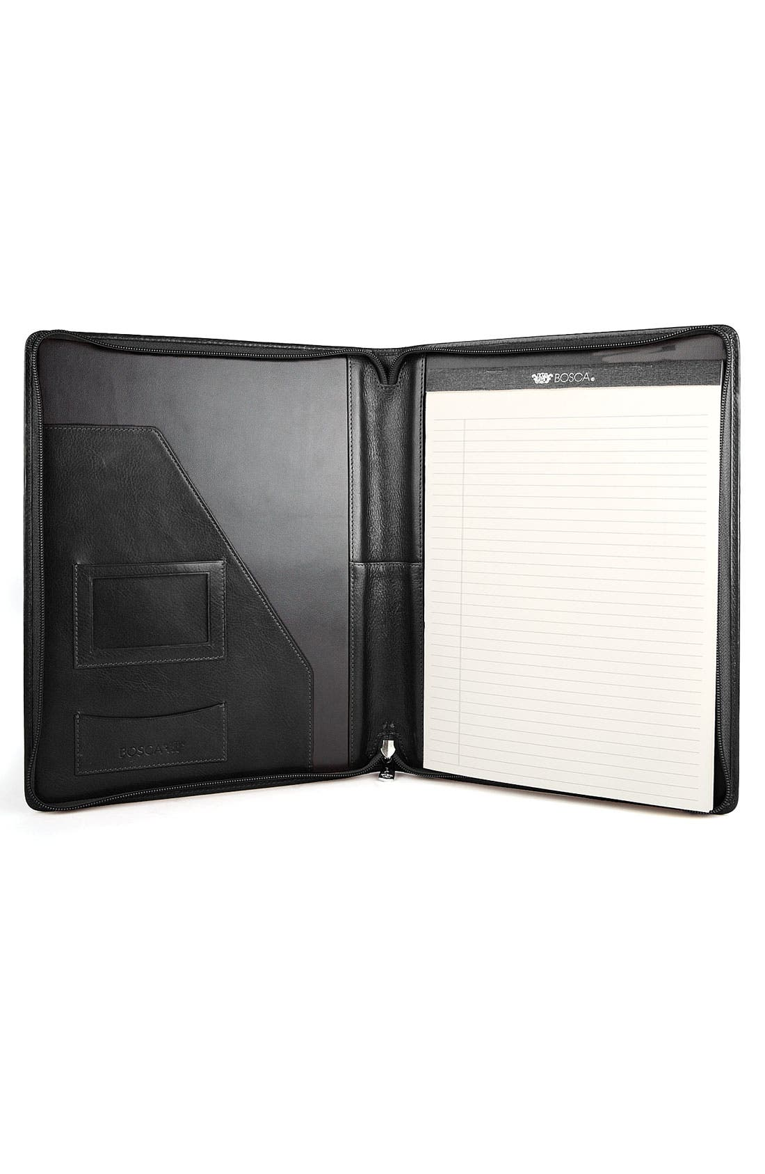 Alternate Image 1 Selected - Bosca Leather Zip Closure Letter Pad Cover