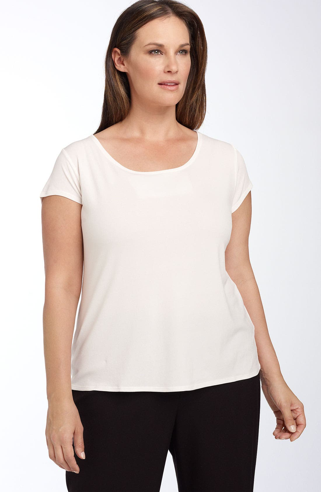 Alternate Image 1 Selected - Eileen Fisher Silk Tee (Plus Size)