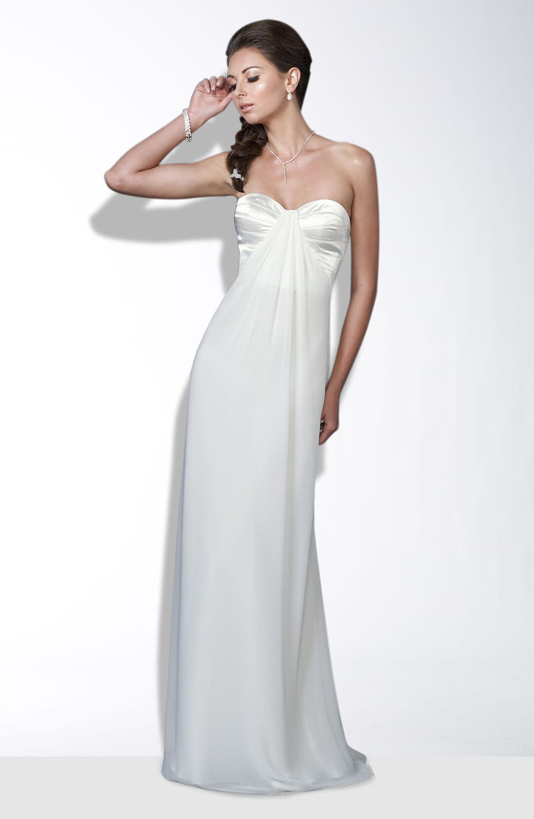 Alternate Image 1 Selected - La Femme Crisscross Back Satin & Chiffon Gown