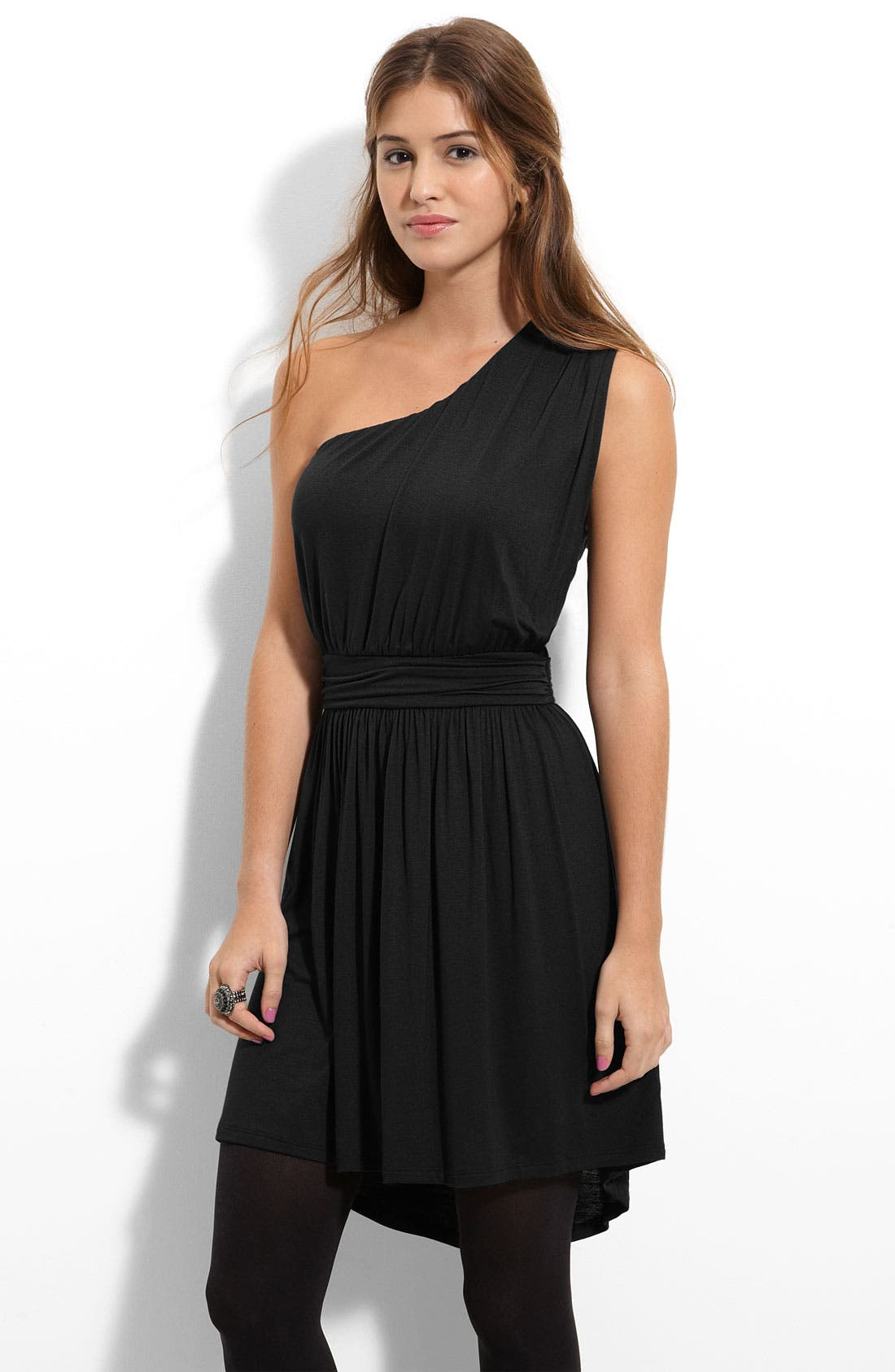 Alternate Image 1 Selected - Lush One Shoulder Knit Dress (Juniors)