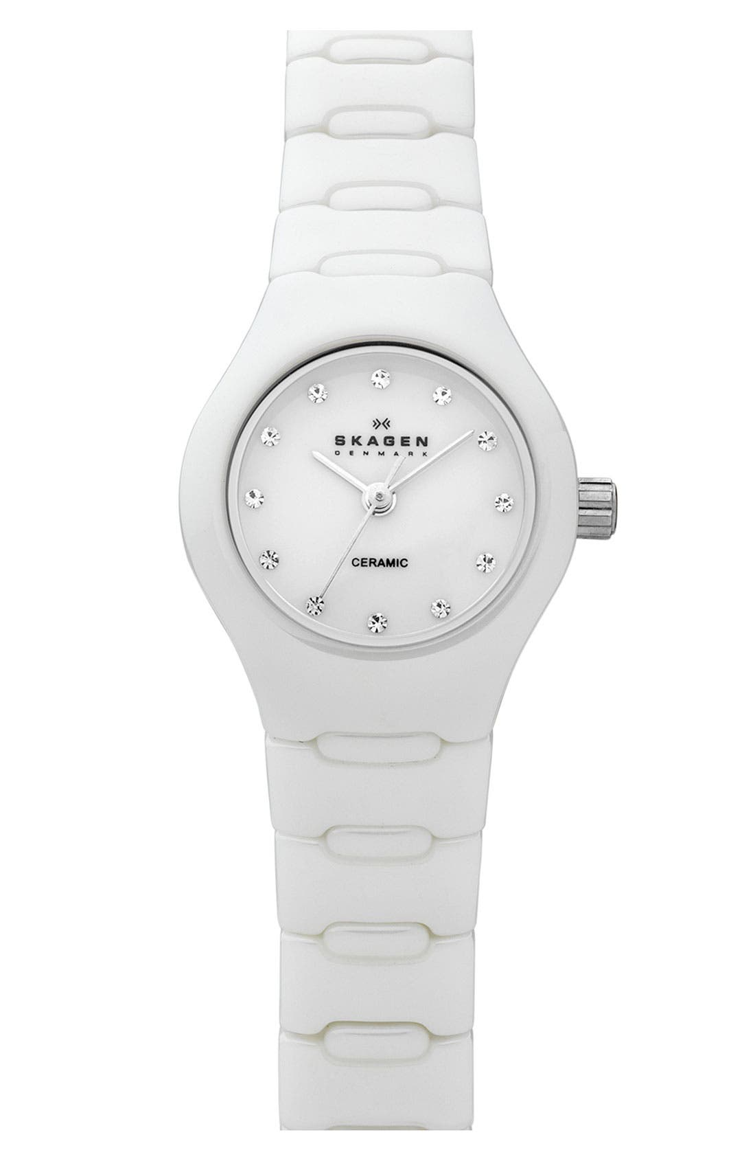 Alternate Image 1 Selected - Skagen Small Ceramic Watch