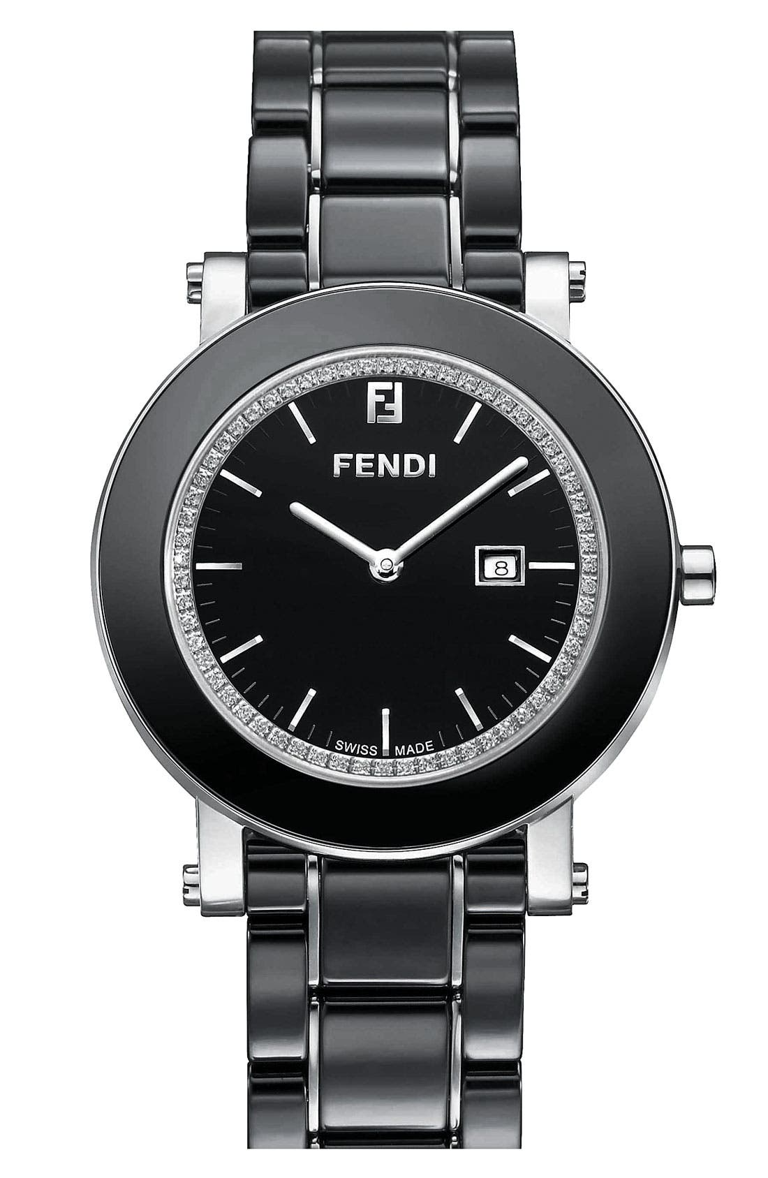 Alternate Image 1 Selected - Fendi Diamond & Ceramic Round Watch, 38mm