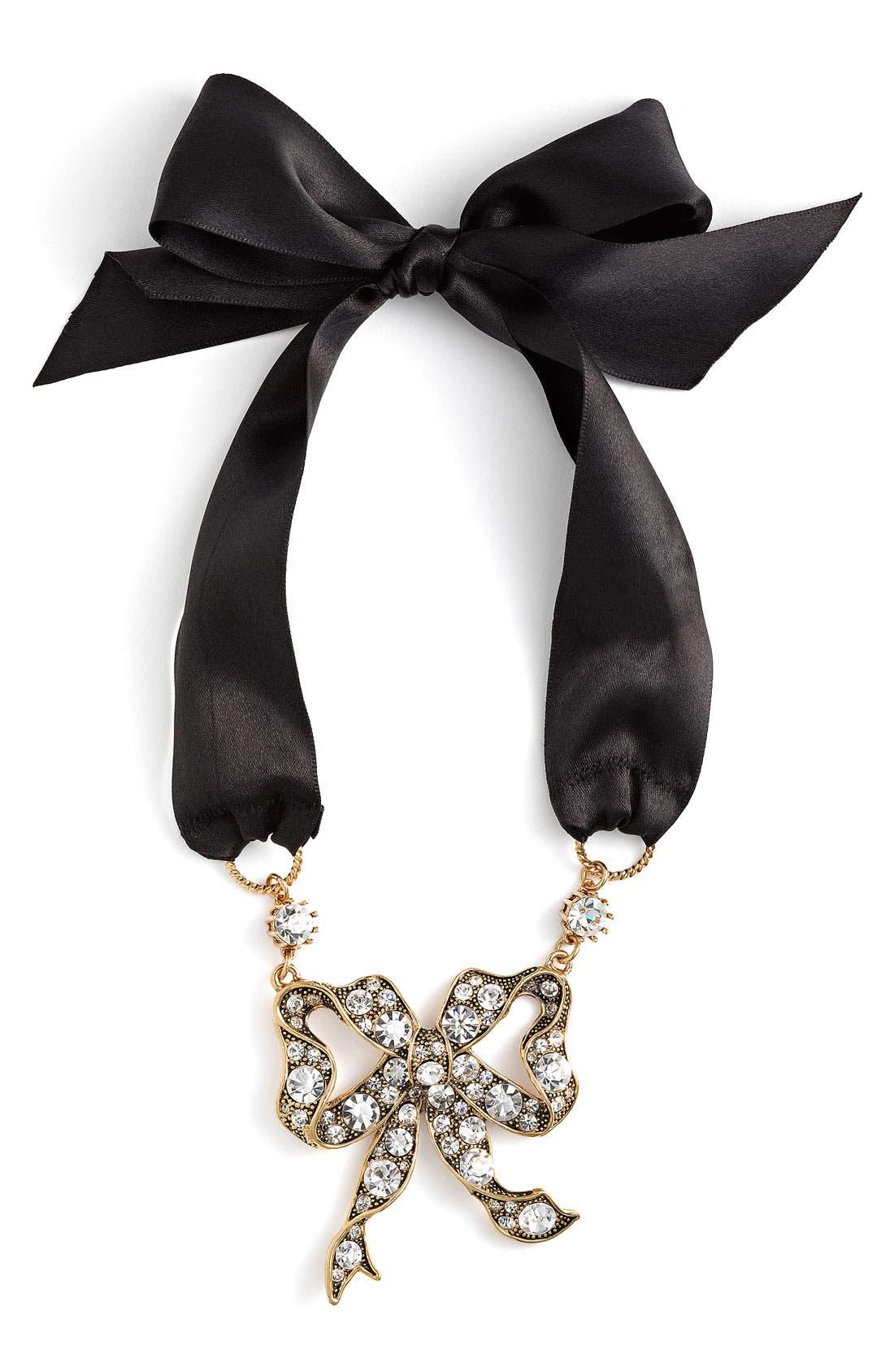 Main Image - Betsey Johnson 'Iconic' Bow & Satin Tie Necklace