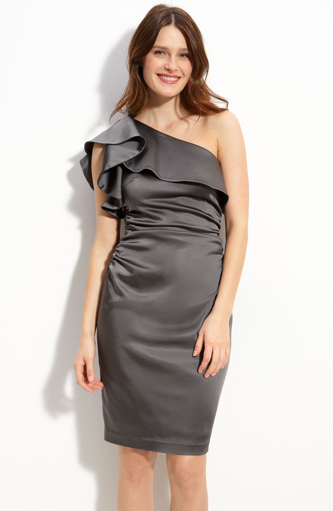 Main Image - Maggy London Ruffled One Shoulder Stretch Satin Dress