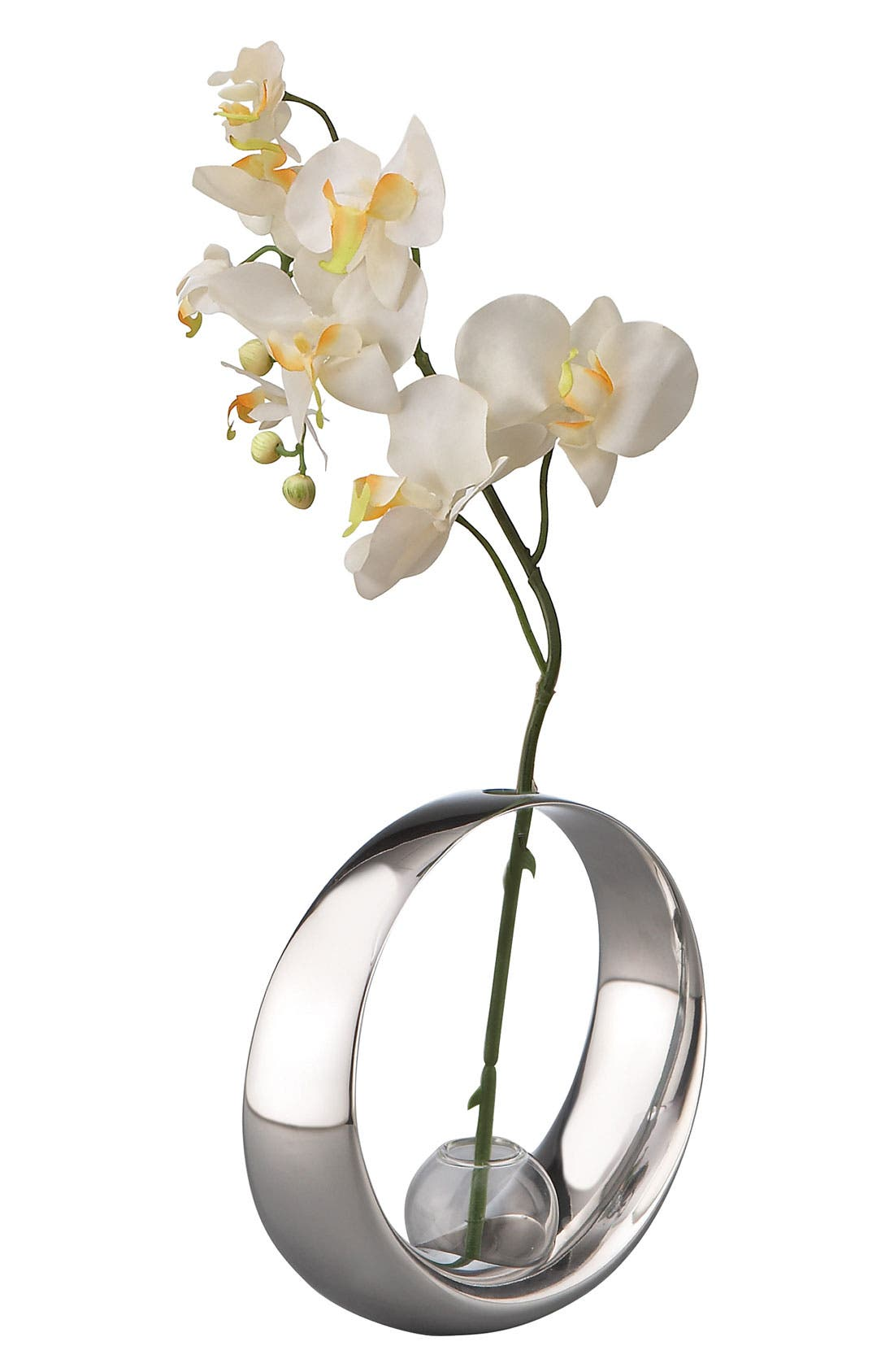 Main Image - Nambé 'Globe' Bud Vase with Silk Orchid
