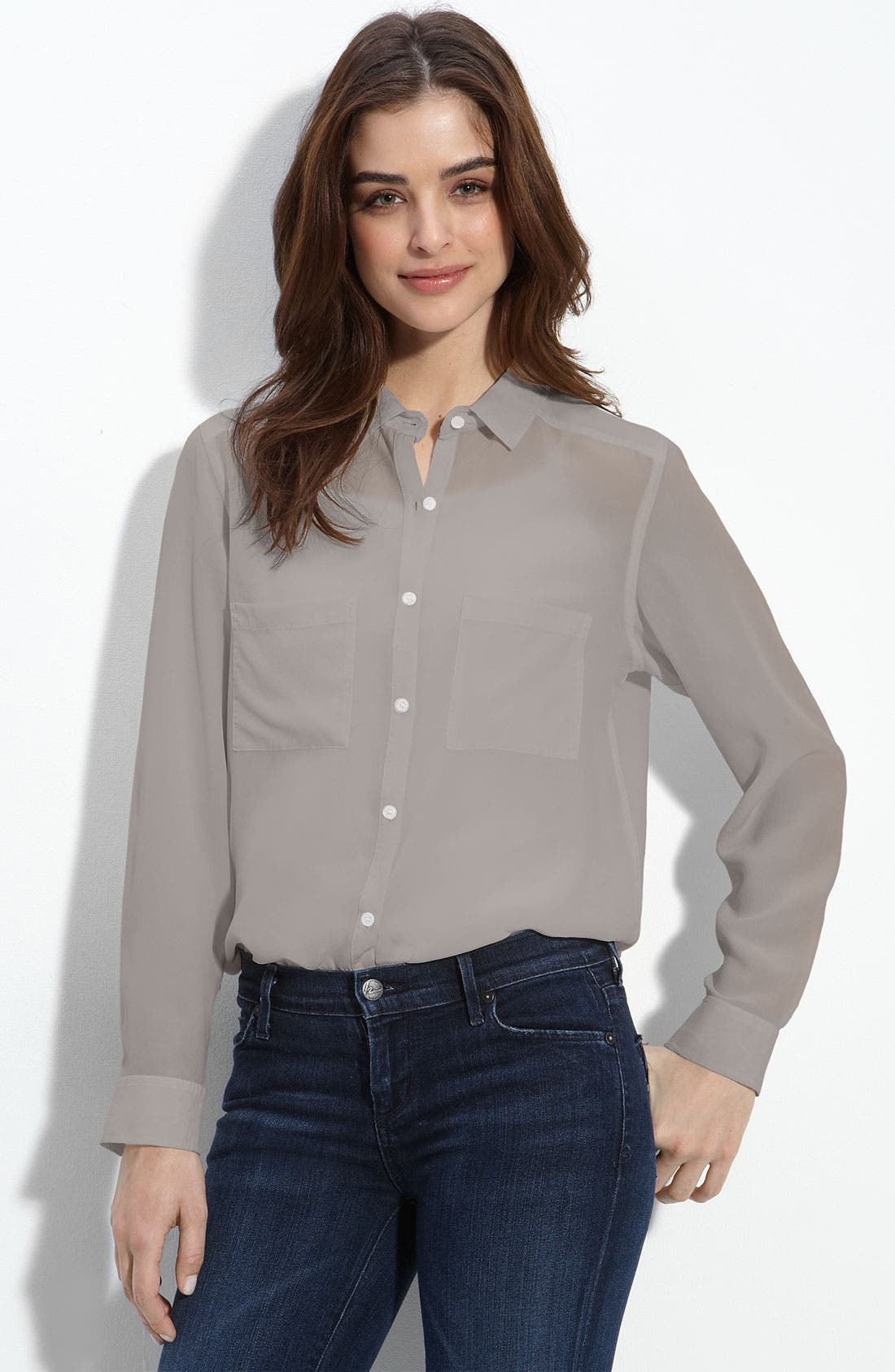 Main Image - Trouvé Long Sleeve Silk Shirt
