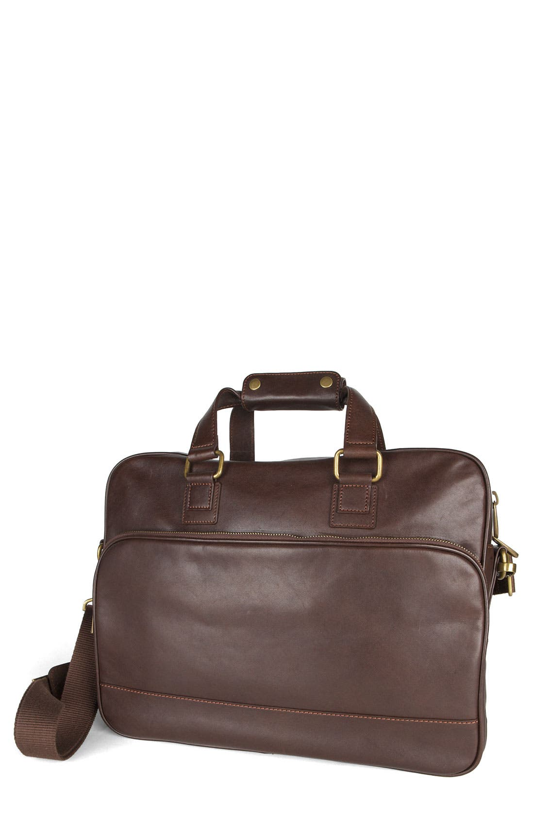 Main Image - Bosca Top Zip Leather Briefcase