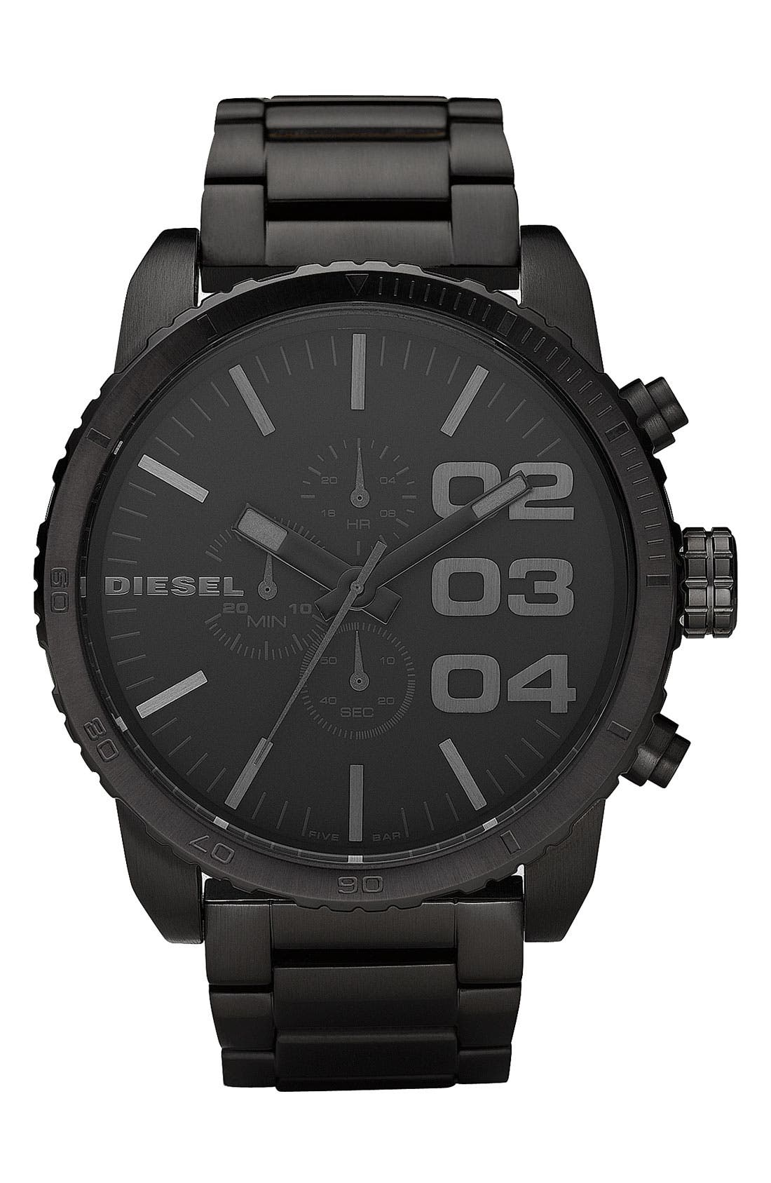 Alternate Image 1 Selected - DIESEL® 'Double Down' Chronograph Bracelet Watch, 51mm
