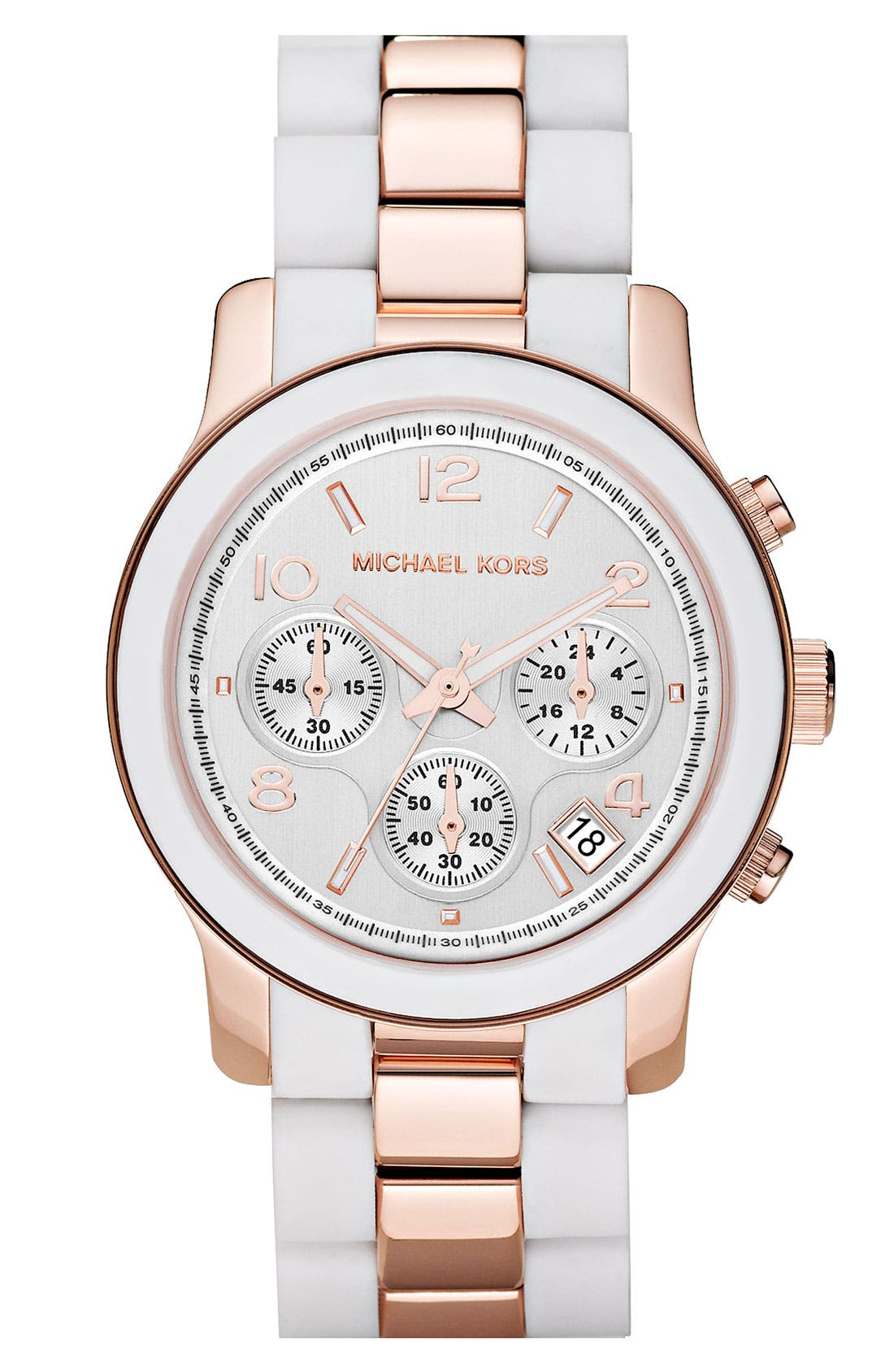 Alternate Image 1 Selected - Michael Kors 'Silicone Runway' Rose Gold Chronograph Watch
