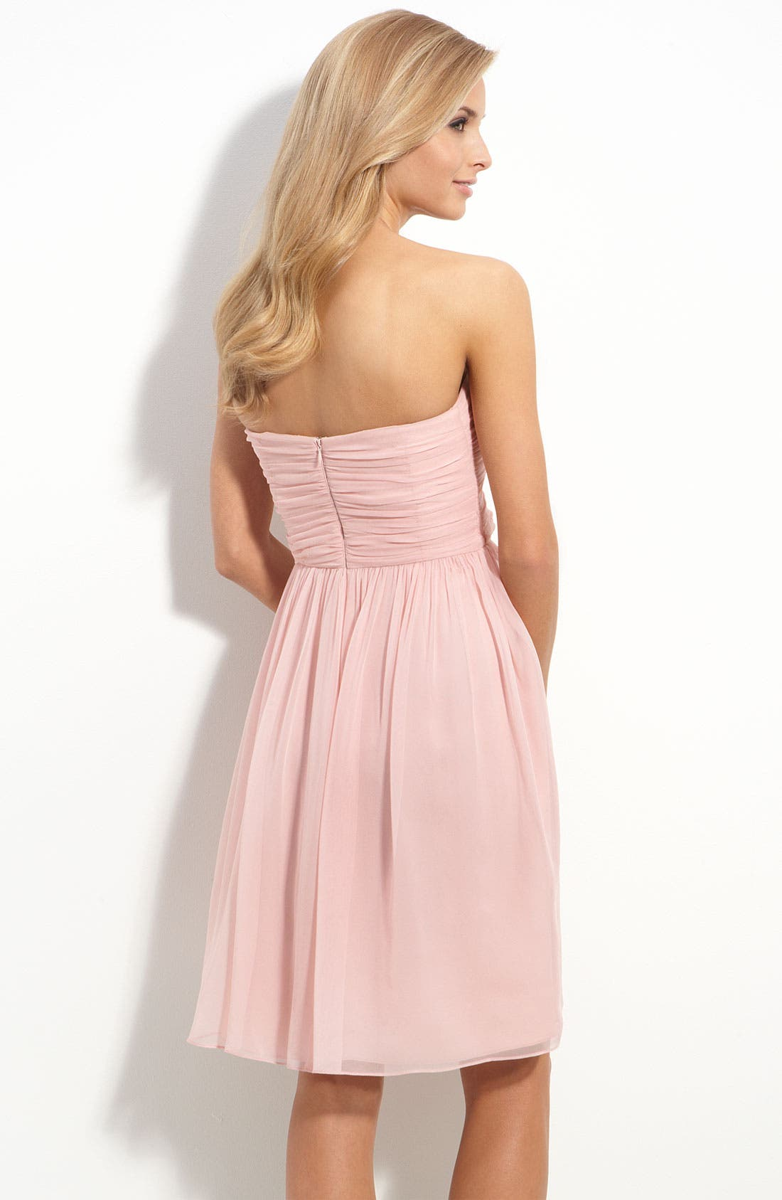 Alternate Image 2  - Donna Morgan Rosette Trim Strapless Chiffon Dress