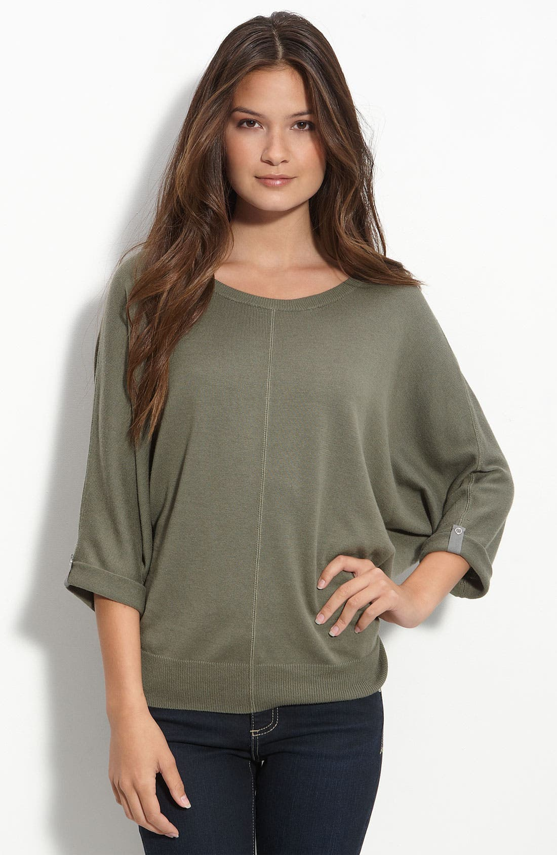 Caslon® Cover Stitch Dolman Sleeve Sweater