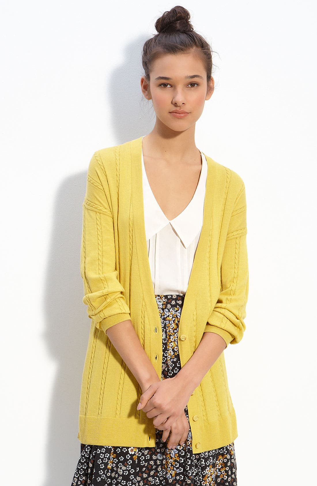 Alternate Image 1 Selected - Rubbish® Fine Cabled Oversized Cardigan (Juniors)