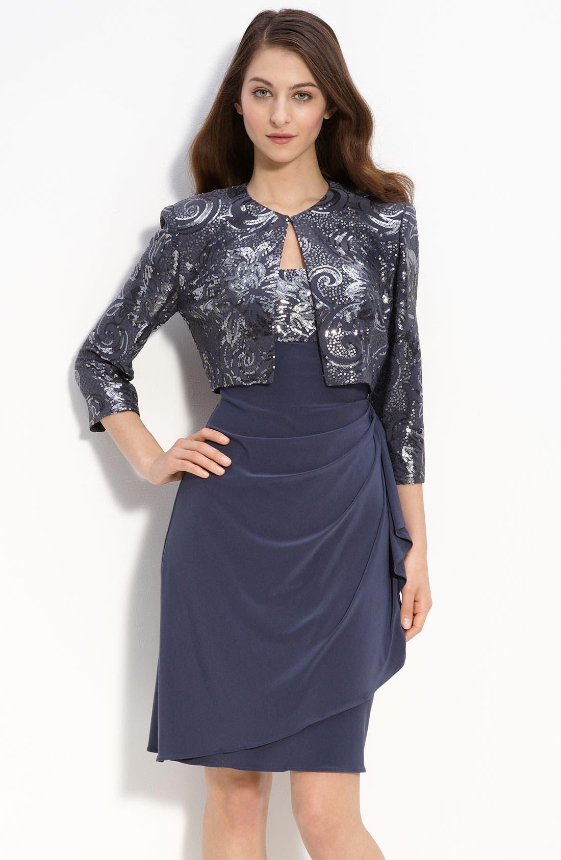 Alternate Image 1 Selected - Alex Evenings Sequin Jersey Sheath Dress & Bolero