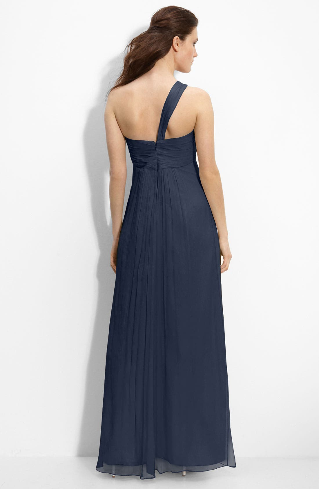 Alternate Image 2  - Amsale Bow Front One Shoulder Chiffon Gown