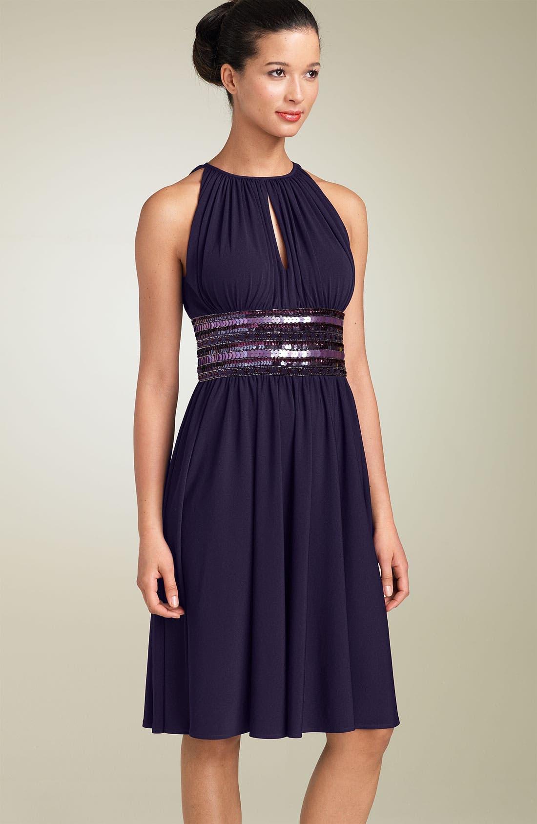 Alternate Image 1 Selected - JS Boutique Embellished Matte Jersey Halter Dress (Petite)