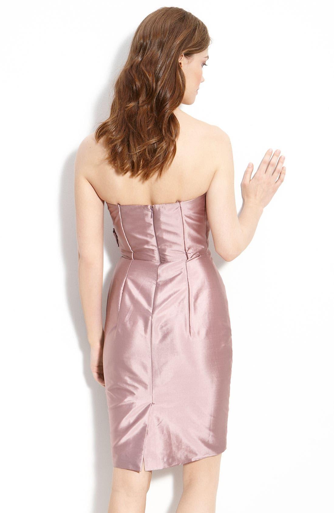 Alternate Image 2  - ML Monique Lhuillier Bridesmaids Satin Ruffle Trim Strapless Dress (Nordstrom Exclusive)